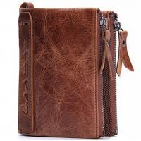 Buy cheap Men's wallet leather short paragraph wallet leather coin purse double zipper from wholesalers