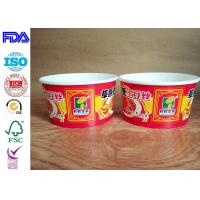Buy cheap Red Paper Rice Bowl With Plastic Lid , Disposable Paper Bowls For Hot Soup from wholesalers