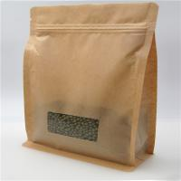 Buy cheap Square Brown Kraft Paper Bag With Clear Window , Zip Lock Coffee Pouch from wholesalers