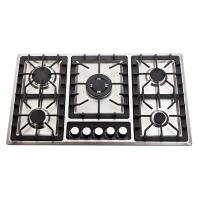 Buy cheap 201 Stainless Steel 5 Burner Gas Cooktop With Enamel Cap / Metal Knob from wholesalers