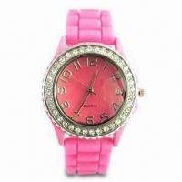 Buy cheap Waterproof Silicone Wristwatch with Diamond, Customized Logos and Designs are Welcome from wholesalers