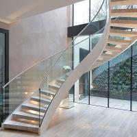 Buy cheap Interior solid wooden curved staircase with customized size design product