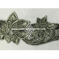 Buy cheap Silver Antique Machine Embroidery Lace Trim With Metallic Foil Print from wholesalers
