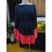 Modena / Coral Batwing Sleeve Mini Dress , Self Belt Summer Plus Size Cape Dress