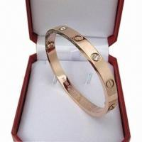 Buy cheap CZ Titanium Steel Bangle with Rose Gold Plating  product