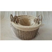 Buy cheap Willow wicker storage basket with liner from wholesalers