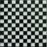 Buy cheap Classic White Black Crystal Glass Mosaic Tile For Kitchen Backsplash from wholesalers