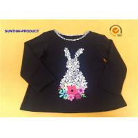 Buy cheap Floral Rubber Print Children T Shirt Long Sleeve Contrast Neck Binding Black Girl T Shirts from wholesalers