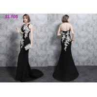 Buy cheap Mermaid Elegant Ladies Evening Dresses Black With Ivory Lace Slim Design from wholesalers
