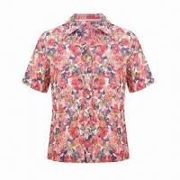 Buy cheap Ladies' Casual Blouse with 100% Polyester Crinkle Fabric, Floral Print, Short Sleeves, Spread Collar from wholesalers