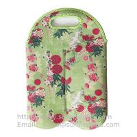 Buy cheap 4.5mm Floral Print Neoprene Wine Bottle Tote, 2-Bottle Insulated Wine Sleeve Cooler Bag from wholesalers