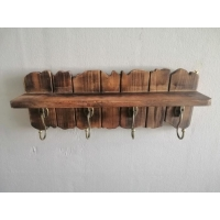 Buy cheap Handmade 15.75 inch Dark Brown Wood Wall-Mounted Coat Rack, 4 Hooks from wholesalers
