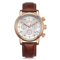 Buy cheap Best Stainless Steel Quartz Wristwatch for Business Men with Real Leather Band&50M Waterproof from wholesalers