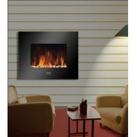 """Buy cheap 26""""Black Flat Tempered Glass Wall Mounted Electric Fireplace Heater(Pebbles Fuel) LED flame EF451S remote control base product"""
