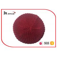 Buy cheap Unique stitch ladies burgundy knit beret hat with rib hat brim from wholesalers