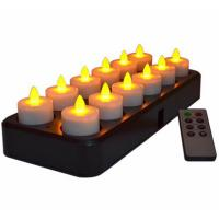 Buy cheap 12Pcs Wireless Inductive Rechargeable LED Electric Tealight Candles Flameless Flickering Tea Lights with Remote Timer from wholesalers