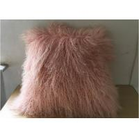China Household Fluffy Pink Mongolian Fur Pillow With Silky Long Curly Hair on sale