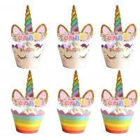Buy cheap Unicorn Shape Paper Cupcake Wrappers , Mini Size Fancy Cupcake Wrappers from wholesalers