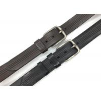 Buy cheap 3 Lines Stitch Mens Leather Dress Belt Pin Buckle 1.5 Wide Black And Brown Color from wholesalers