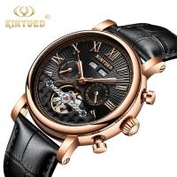 Buy cheap J022-2 Fashion Black Strap Silver Cover Hollow Out Case Back With Complete Calendar Mens Automatic Mechanical Watch from wholesalers