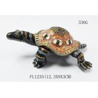 Buy cheap Classical turtle metal jewelry box diamond jewelry box ring box painted dressing table decorations from wholesalers