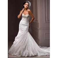 Buy cheap Elegant Beaded Ruffles Mermaid Wedding Gowns Custom Made With Corset Back from wholesalers