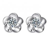 Buy cheap 925 Sterling Silver Stud Earring Plum Blossome Design Charm Rhinestone Crystal Jewellery SR0005 from wholesalers
