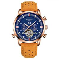Buy cheap Blue Dial Automatic Mechanical Watch Soft Brown Genuine Leather from wholesalers