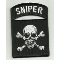 Buy cheap Sniper Tab Skull & Crossbones Motorcycle Jacket Vest Biker Morale Military Patch Iron On from wholesalers