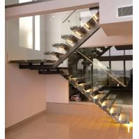Buy cheap Wooden Step Single Stringer L Shape Staircase with Tempered Frameless Glass Railing from wholesalers