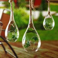 Buy cheap Tear Drop Craft Glass Flower Planters / Borosilicate Garden Glass Hanging Planters from wholesalers