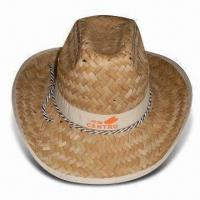 Buy cheap Cowboy Straw Hat with Logo Printing, Available in Size of 56cm from wholesalers