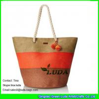 Buy cheap LUDA oversized nice handbags striped paper straw tote large beach bags with pom from wholesalers