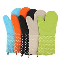Buy cheap Silicone Baking Gloves Dot Printed Heatproof Kitchen Oven Mitts , Kitchen Mitts product