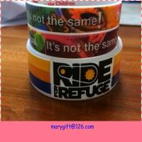 Buy cheap new design wide hot silicone bracelet band with CMYK printing from wholesalers
