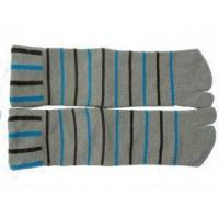 Buy cheap Unisex Grey / Yellow / Black 100% Cotton Stripe Two Toe Socks For Shoe Size 5-9,  10-13 from wholesalers