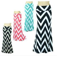 Quality Spring Chevron Print Zigzag Womens Long Maxi Skirts In Polyester / Spandex for sale