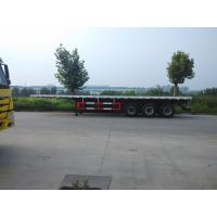 China 28T Landing Gear Flatbed Truck Trailer , Low Bed Semi Trailer 3 Axle on sale