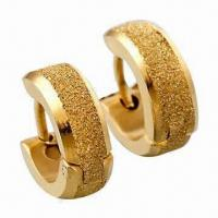 Buy cheap Hoop Earrings, Made of Titanium and 316L Steel, 18K Gold Plating product