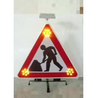China Foldable Traffic Warning Signs Portable Solar Flashing LED Lights on sale