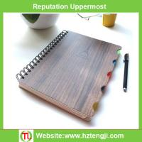 Buy cheap OEM A6 wooden design cover lined spiral paper notebook Student notebook creative organizer from wholesalers