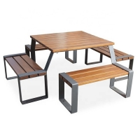 Buy cheap 1930L*1930W*680H Steel Wooden Outdoor Table And Bench Seats from wholesalers