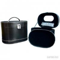 Buy cheap Black Leather Jewelry Travel Case / Cosmetic Travel Case Fabric Inside from wholesalers