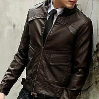 Buy cheap Men's single face leather jacket with knitting hood from wholesalers
