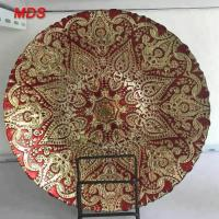 Buy cheap Artificial dark gold and red antique glass dessert plate charger plate from wholesalers