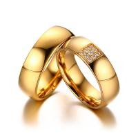 Buy cheap CZ Crystal Gold Engagement Wedding Ring Stainless Steel Couple Jewelry Popular Ring For Men And Women from wholesalers
