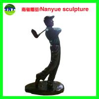 Buy cheap Life size  golf man statues sculpture  by fiberglass bronze color as Props and oddties in Sport place theme plaza from wholesalers