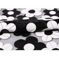 Buy cheap Customization Embroidery PU Mesh Lace Fabric With Black And White Flower from wholesalers