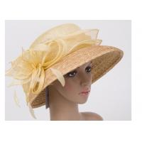 Buy cheap 57cm Light Yellow Womens Church Hats With 9cm Down Straw Braid Sewing Brim from wholesalers