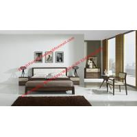 Buy cheap Classic Walnut wooden bedroom set by leather headboard and Flat Bedstead for mattress from wholesalers